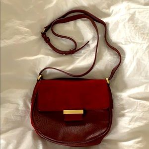 Ann Taylor Burgundy Suede Crossbody Saddle Bag